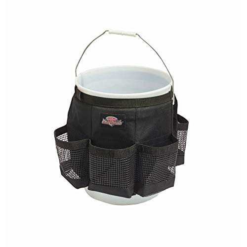 Bucket Boss Auto Boss Wash Boss Organizer for a 5 Gallon Bucket, with Fast-Drying, Exterior Mesh Pockets for Car Wash Supplies, Allowing for Soap and Water in the Bucket, in Black, AB30060
