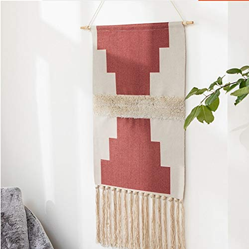 Lanqinglvl – Tapiz de pared Bohemian borla de pared rojo beige pared pared pared decoración algodón plana Tapiz tejer tejer Ethno Trippy Vintage toalla de pared 50 x 70 cm + 20 cm