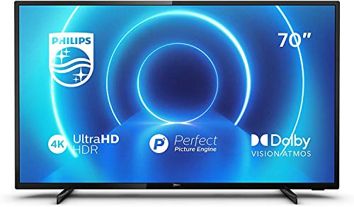 Philips 70PUS7505/12 de 70 pulgadas (4K UHD, P5 Perfect Picture Engine, Dolby Vision, Dolby Atmos, HDR 10+, Saphi Smart TV, HDMI, USB), Color negro [Clase de eficiencia energética A+]