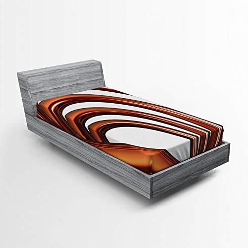 ABAKUHAUS Abstract Hoeslaken, Helix Coil Spiral Pipe, Zachte Decoratieve Stof Beddengoed, Elastische Band Rondom, 90x 190 cm, Donker oranje en wit