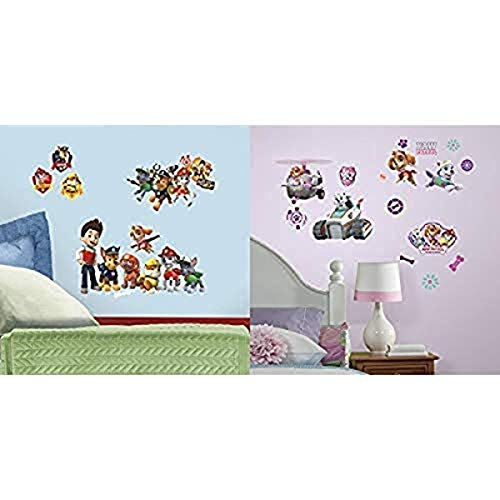 RoomMates Paw Patrol Peel and Stick Wall Decals and RoomMates Paw Patrol Girl Pups Peel and Stick Wall Decals