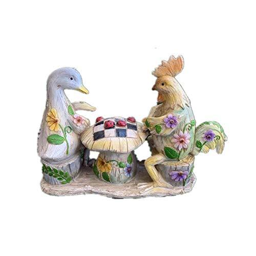 Ybzx Escultura de decoración de jardín, Estatua de Animal, Modelo de Pato Gallo, Resina, decoración Creativa al Aire Libre Pintada Retro