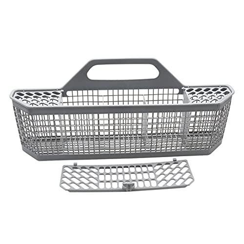 DELITLS Cesta universal para cubiertos de lavavajillas, caja de almacenamiento de cubiertos de plástico con mango desmontable, compatible con el 99% de los lavavajillas de tamaño completo