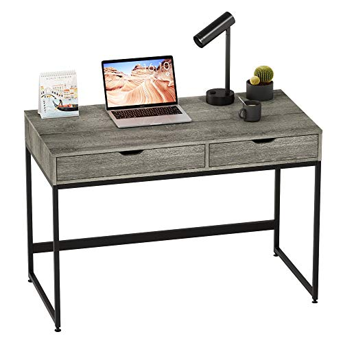 Bestier Computer Desk with Drawers, 43.3 Inch Home Office Writing Desk, Vanity Makeup Table, Gray