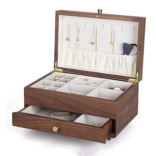 TXOZ-Q Nogal joyero Caja de almacenaje de la joyería del Collar de la Caja del Anillo Colección Pendientes de Ver el Regalo Pendientes de la Pulsera