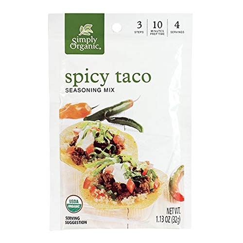 Simply Organic Spicy Taco Seasoning, Certified Organic, Gluten-Free | 1.13 oz | Pack of 12