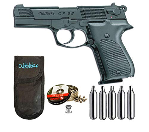 Outletdelocio.. Pistola perdigon Walther CP88 co2 4,5mm. Full Metal + Funda Portabombonas + Balines + Bombonas co2. 23054/29318/38203