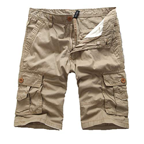 Cargo Hose Männer Kurz Shorts GreatestPAK Herren Einfarbig Cargo-Shorts Knopf Pocket Arbeitshorts Mode,Khaki,EU:S(Tag:29)