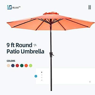 Bluu Patio Umbrella 9 Ft Outdoor Table Market Umbrellas with Push Button Tilt and Crank, 8 Ribs(Beige)
