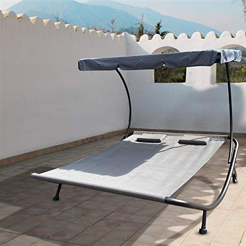MGQ Patio Outdoor Double Chaise Lounge,Wheeled Hammock Bed 2-Person Patio Lounge Chair,Pool Side Sun Lounges with Adjustable Canopy and Headrest Pillow for Sun Room, Garden,Poolside,Beach