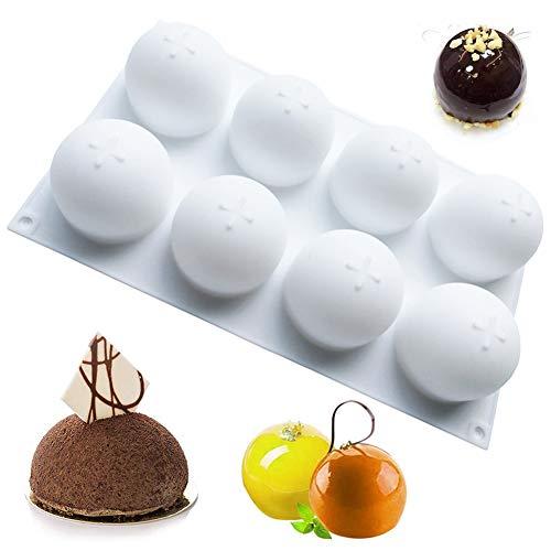 BKJJ Molde de Silicona Semiesfera Molde de Chocolate 8 Cavidades Forma de Pelota Moldes para Hornear Antiadherente para Hacer Bombas de Chocolate Caliente, Pasteles, Gelatina, Mousse de Cúpu