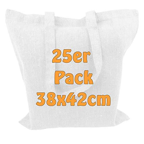 Cottonbagjoe Recyclingtasche aus recycelter Baumwolle Öko - Einkaufstasche robust mit dickem Stoff und Langen Henkeln (Weiß, 25 Stück)