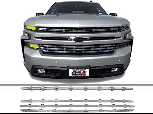 QAA fits 2019-2020 Chevrolet Silverado 4 Piece Chrome Plated ABS Plastic Grill Overlay, Insert SGC59170