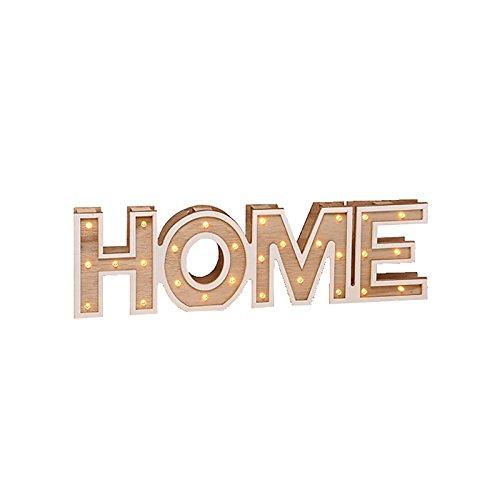 Texto decorativo HOME, de madera, con ledes blanco cálido, Home