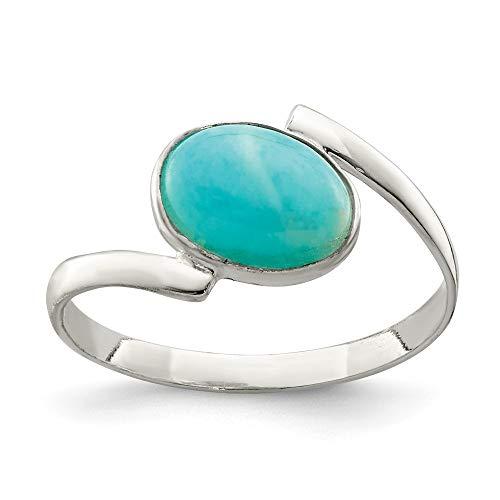 Diamond2deal Taglio ovale Amazzonite anello da cocktail in argento Sterling 925