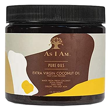 As I Am Pure Oils Extra Virgin Coconut Oil – 15 ounce – Cold Pressed – 100% Pure and Unrefined Cocos Nucifera Oil…