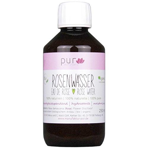 250 ml Echtes Rosenwasser Bio Organic Rose Water 100% naturreines Rosen-Hydrolat (in PET-Flasche mit OV)