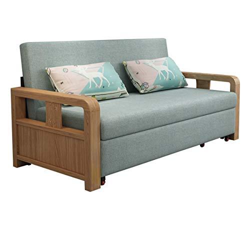 Nordic Sofa Cabrio-Bett, Ausklappbare Ausziehbare Sofas, Multifunktionales Massivholz-Sitz- Und Schlaf-Doppelsofa Für Wohnzimmermöbel, Starkes Lager, Waschbar,G,1.64M