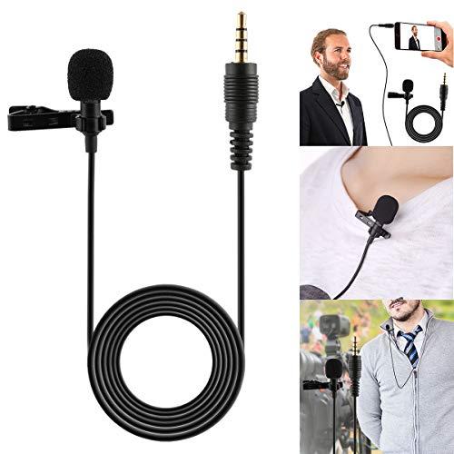 Fsskgx Mini micrófono de Solapa de 3.5 mm, micrófono de Solapa con Condensador con Cable y Manos Libres para Podcast Smartphone Youtube Laptop
