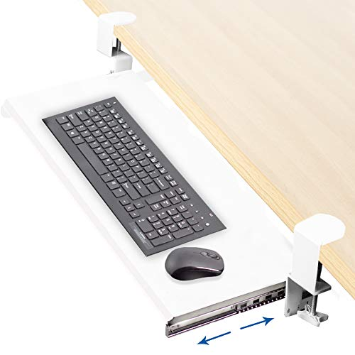 VIVO White Clamp-on Computer Keyboard and Mouse Under Desk Mount Slider Tray | 27 x 11 inch Pull Out Platform Drawer (MOUNT-KB05W)