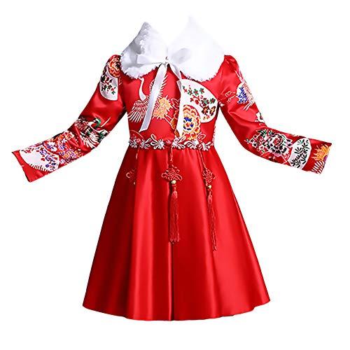 XYW Cheongsam de los niños - Chicas Hanfu Ropa de año Nuevo otoño Invierno Ropa Festiva Traje Tang Vestido año Chino Grueso (Color : Red+Fur Collar, Size : #100)