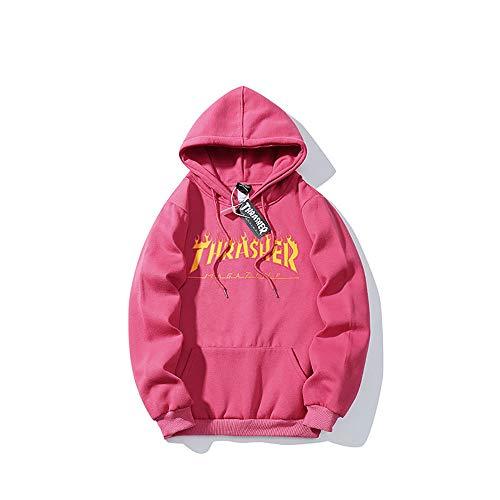 Coisini Thrasher Sudadera Capucha Pullover Hood para Hombres y Mujeres con el Mismo Párrafo Hoodie, Classic Print Plus Suéter con Capucha de Skategoat Terciopelo (Pink,S)