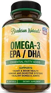 Omega-3 EPA, DHA Fish Oil Natural Dietary Supplement – 60 softgels – Essential Fatty Acids: 2000mg Omega 3 Fish Oil, 360mg EPA, 240mg DHA, Vitamin E – No Fishy Burps, Aftertaste - by Bradeson Naturals