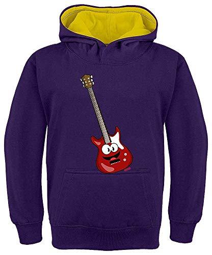 Sudadera con capucha para niños de Hariz, con contraste, guitarra eléctrica, sonriente,...