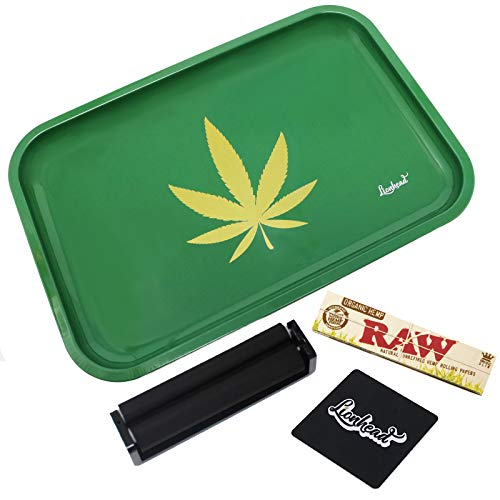 """Full Size Rolling Tray Bundle – 12"""" x 8 Tray + 110mm Rolling Machine + King Size Raw Rolling Papers – Lionhead (Green)"""