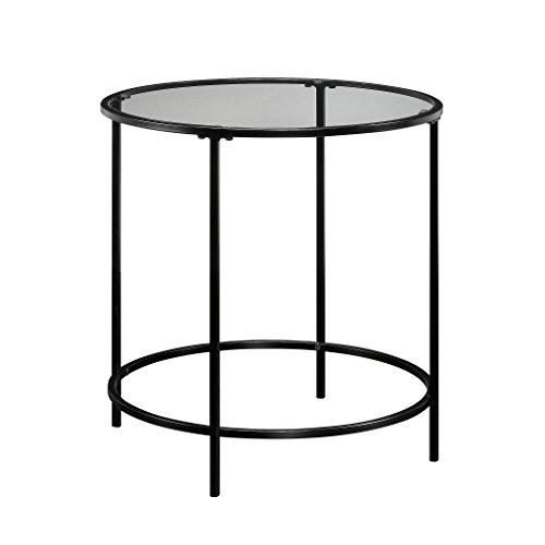 Sauder Side Table, Metal, Black/Clear Glass, L W x H: 22.01'