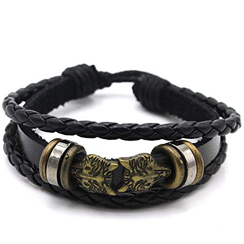 KFYU Bracelet en cuir PX72 Bracelet corde télescopique tête de loup bronze