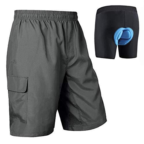 BALEAF Men's Mountain Bike Shorts 3D Padded Bicycle Cycling Biking Shorts Loose-fit MTB Lightweight SPF 50 Grey Size M