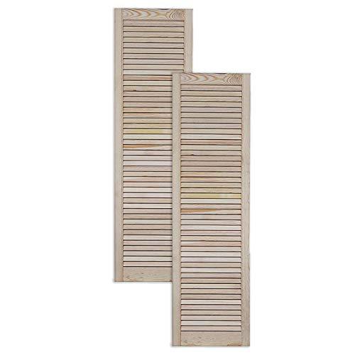 Lamellentür Holztür natur 140,6 x 39,4 cm mit offenen Lamellen für Regale, Schränke, Möbel | Kiefer Holz unbehandelt | Doppel-Paket 2-er Pack