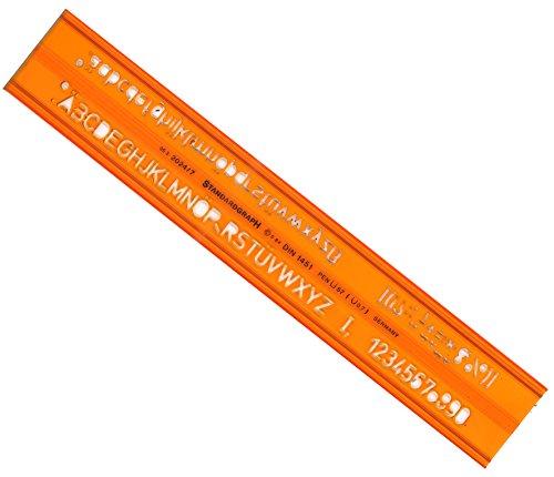 Graphoplex Schablone, ISO-Norm, Buchstaben, 7mm, orange, transparent