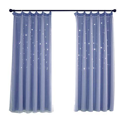 XdiseD9Xsmao Uitstekende lichte holle sterren dubbellaags gordijn draperen, duurzame lichte raamdecoratie voor woonkamer slaapkamer hotel blauw