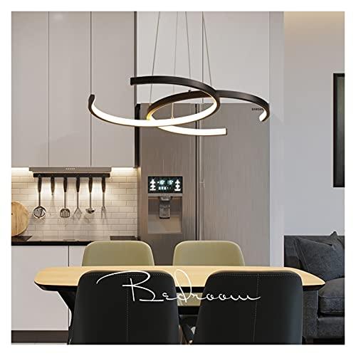 Accesorio de iluminación 38W LED lámpara colgante mesa de comedor lámpara colgante negro lámpara colgante moderno araña de aluminio acrílico lámpara colgante lámpara máxima120 cm altura ajustable dorm