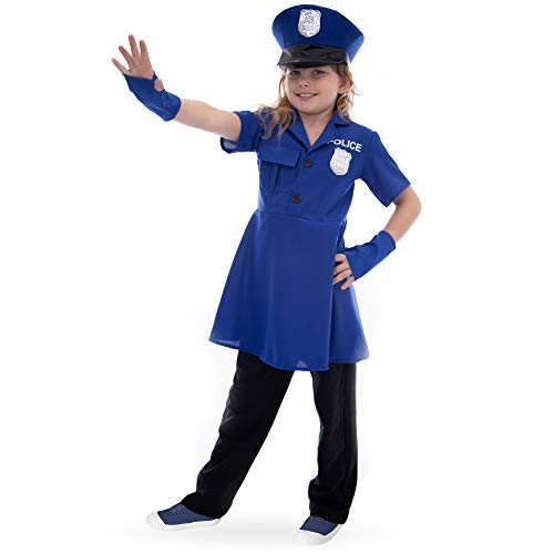 Boo! Inc Proud Police Officer Children's Halloween Costume | Policewoman Dress Up, S Blue