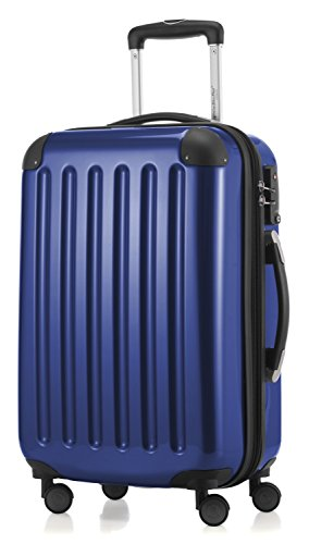 HAUPTSTADTKOFFER - Alex - Carry on luggage On-Board Suitcase Bag Hardside Spinner Trolley 4 Wheel Expandable, 55cm, TSA, dark blue
