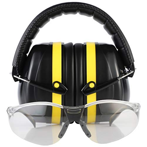 TRADESMART Shooting Earmuffs and Anti Fog Scratch Resistant Safety Glasses Kit