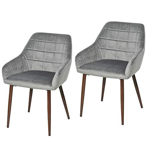 HOMCOM Esszimmerstühle, 2er Set, Küchenstuhl, Armlehnstuhl Stuhl mit Rückenlehne, Samt, Schaumstoff, Stahl, Dunkelgrau, 57 x 58 x 81 cm