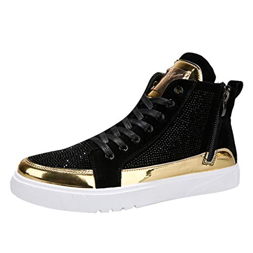 VonVonCo Walking Shoes for Men Colorful Mirror Sneakers Nightclubs Sequins High-Top Athletics Casual Shoes Black 11