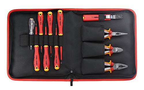Felo Juego de herramientas profesional E-Slim Ergonic VDE 413 81104, incluye destornillador, alicates y alicates para teléfono, alicates redondos y cortacables