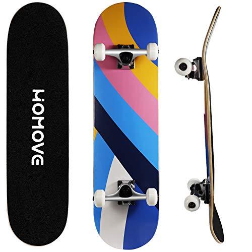 HOMOVE Skateboard, Komplettboard 31 x 8 Zoll Skateboards mit Doppel-Kick, ABEC-7 Kugellager, 7-lagigem Ahornholz Longboard für Männer und Frauen Jugend Kinder Straße Erwachsene(Streetstyle) (Weiß)