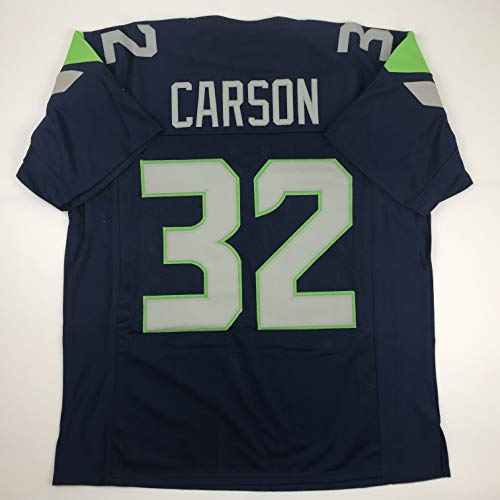 Unsigned Chris Carson Seattle Blue Custom Stitched Football Jersey Size Men's XL New No Brands/Logos