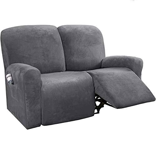Stretch-Samt-Bezug für 1-, 2-, 3-Sitzer, Liegestuhl-Bezüge für Leder und Stoff, rutschfest, mit Seitentasche, für elektrische Liegestuhl, grau, 2-Sitzer, 6-teilig