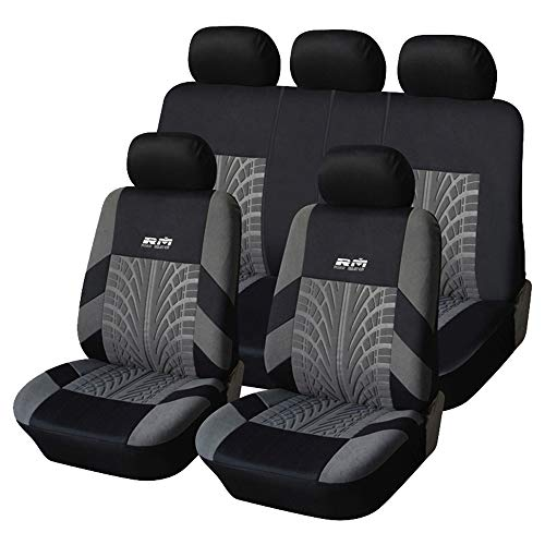 AUTOYOUTH Car Seat Covers Full Set, Front Bucket Seat Covers with Split Bench Back Seat Covers for Cars for Women Full Set Auto Parts Seat Protectors Motor Trend Car Seat Accessories - 9pcs,Gray