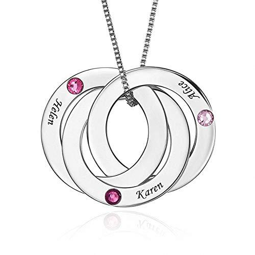 Zhaolian888 Namenskette 3 Namen Silber 925 Gravierte Halskette für Frauen Personalisierte russische Ringe Name Halskette mit 3 Namen und Birthstone Frauengeschenk für Geburtstag Weihnachten
