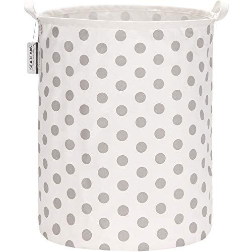 Sea Team - Cesta de almacenamiento de lona de arpillera cilíndrica de 19,7 pulgadas con revestimiento impermeable de gran tamaño, tela de algodón de ramio, plegable, con diseño de puntos grise
