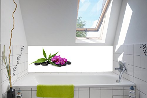Neue Atmosphäre im Bad mit unserer Badrückwand / Deko 180x55cm (BxH) Motiv:Spa Orchideen lila