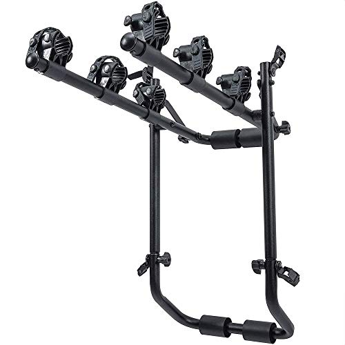 Addmax Rear Mounted bicycle Car Rack stand - Universal Fit Aluminium 3-Mountain Bike Carrier Stand with Safety Side Straps and Protective Foam Pad